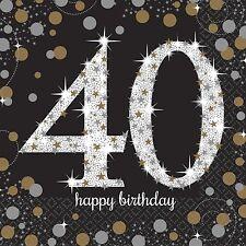 16X Negro 40 AÑOS Servilletas Negro Oro Plata 40 cumpleaños vajilla servilletas