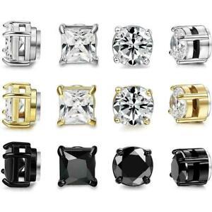 Crystal Women Mens Clip On Earrings Non-Piercing CZ Zircon Stud Magnetic G8H3