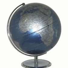 STUNNING Metallic Blue Educational Quality World Globe Home Decor 30cm Diameter