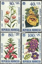 Indonesia 499-502 (complete issue) unmounted mint / never hinged 1965 Flowers