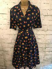 Marion Donaldson Vintage Navy Blue Cotton Floral 1940s Style Tea Dress  UK 16