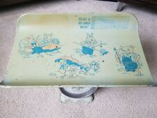 Vintage 1950's Nursery Baby Scale with Ducks, Pig, Mice, and Rabbit Graphics