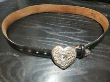 Tony Lama Size 28 Black Leather Silver Heart Vintage 80S 90S Sweetheart Belt