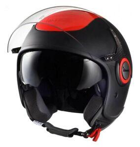 Vespa scooter demi Jet VJ black orange fluo fluorescent L visor open face helmet