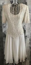 Brilliante By JA Beaded Sequin Lace Dress Ivory Formal Bridal Wedding Petite S