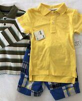 IZOD boy's sz 3T 2-piece NWT Yellow & blue outfit- polo shirt & Plaid shorts LOT
