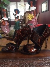 Michael Antonio Lovely Patent Tortoise Open Toe Sandal size 8