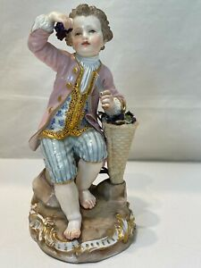 Gorgeous 19thC Meissen Porcelain Boy Figurine Holding Grapes and a Knife