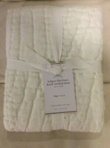 Pottery Barn 1 Belgian Linen Hand Crafted Quilted King Sham NWT Classic Ivory