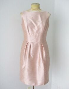 Alfred Sung blush pink silk shantung formal event dress bow lined pockets L