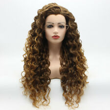 Meiyite Hair Curly Long 26inch Brown Root Honey Blonde Ombre Lace Front Wig