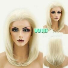 Fashion Medium Straight Light Blonde Lace Front Wig Heat Resistant Synthetic Wig