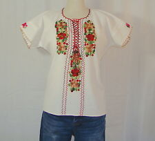 Medium Mexican Oaxaca Embroidered Ethnic Peasant White Cotton Tunic Top Blouse