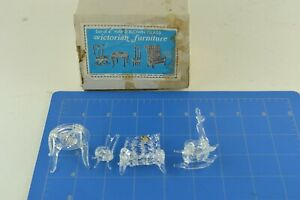 Hand Blown Glass Victorian Furniture Doll House Miniature Vtg Taiwan Boxed Set