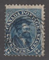 "Canada Scott #19  17 cent Jacques Cartier blue ""First Cents""  F"