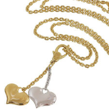 Louis Vuitton Double Heart Pendant Necklace in 18K Yellow/White Gold D3927