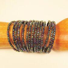 WHOLESALE LOT 5PC Handmade Beaded Bangle Cuff Bracelets Assorted Colors
