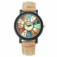 JSDDE Ladies' Quartz Analogue Watch Camouflage and Colourful Stripes Retro Vinta