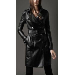Ladies Women Black Genuine Real Leather Trench Coat - BNWT