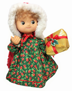"""Vintage Padma Animated Christmas Motionette Girl w/ Present Gift Doll Toy 12"""""""