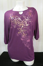 Top Blouse Womens Plus Sz 5X (30W-32W) JUST MY SIZE JMS Floral Top NWT