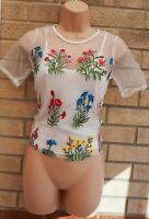 NEW LOOK WHITE MESH FLORAL EMBROIDERED MULTI COLOUR SHORT SLEEVE BLOUSE TOP 8