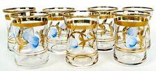 7 Vintage Shooter Liquor Shot Glass Gold Rimmed Blue Flower Cordial 2 oz each