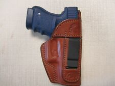 FITS GLOCK 26, 27 & 33, IWB, RIGHT HAND FORMED BROWN LEATHER HOLSTER WITH SHIELD
