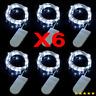 6 Stück 2M 20er LEDs Lichterkette Draht Micro weiß, Batteriebetrieb DE