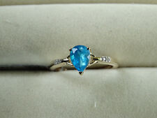 Rare Neon Apatite Pear & Natural Zircon 10K Yellow Gold Ring Size L-M/6 RRP £208