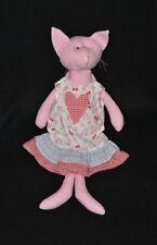 Peluche doudou chat SIA rose à carreaux robe blanc fleurs coeur 37 cm TTBE