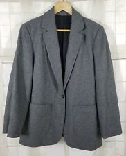 J. CREW Women's Wool Blend Gray Hacking Long Blazer Jacket Coat Career 4 EUC B5