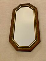 "VINTAGE HOMCO HOME INTERIORS OCTAGONAL MIRROR WITH GOLD TRIM 23"" x 12 1/2"""