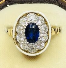 Diamond Enamel Cluster Ring Size N A Remarkable Art Deco Sapphire and