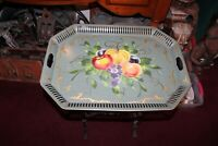Large Antique Toleware Serving Tray Green Tray Colorful Painted Fruit