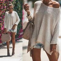 Women's Ladies Long Sleeve Loose Knitted Sweater Ladies Casualer Tops GIFT
