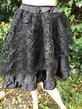 Black Gothic Victorian Steampunk Uneven Hem Lace Bustle Skirt 8-10