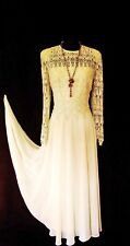 CATTIVA Size 14 Cream Beige Ladies Designer Full Skirt Lace Pearl Wedding Dress
