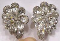 Vintage Jewelry Earrings Weiss Bright Sparkling Navettes Rhinestones