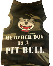"""Puppy Pet Small Dog Clothes Shirt Vest Coat """"My Other Dog is a Pit Bull"""" Xs 4lb"""