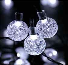 White Crystal Ball Lights Solar String Fairy Outdoor Decor Garden Patio Yard Law