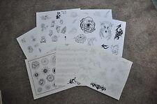 Teddy Bear Sun Moon Skull Tattoo Outline Flash Wall Art LOT 7 Sheets Bartels