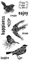 Fiskars Bird Stamps - Swallows, Blackbird, Dream, Inspire, Happiness, Create