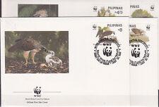 v1909 Philippinen / WWF 1991 Vögel-Adler  MiNr 2038/41 auf 4 FDC