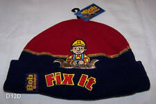 Bob The Builder Boys Fix It Red Navy Embroidered Fleece Beanie Size 53cm New