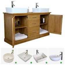 Double Vanity Unit | Solid Oak Bathroom Cabinet Twin Ceramic Basin Sink Taps Set