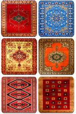 Persian Rug Design Print Drinks Coasters Set Of 6. Vintage Carpet Quality Print