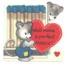 Vintage Valentine Cute Mouse Couple Book of Matches WE'D MAKE A PERFECT MATCH!