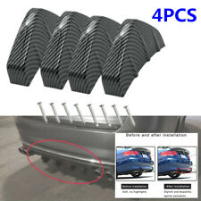 4pcs Car Rear Bumper Lip Diffuser Shark Fins Splitter Carbon Fiber Universal Kit