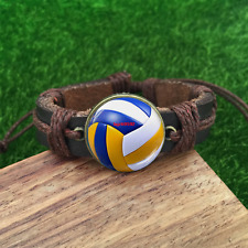 Volleyball Brown Glass leather & chord Bracelet charm -Unisex Adjustabl-SL819